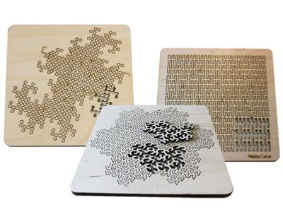Set of Three Fractal Curve Puzzles